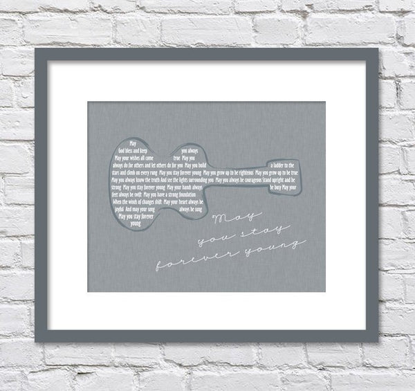 Bob Dylan Forever Young Lyrics/ Guitar/ Forever Young Nursery/ Retro Wall Art/ Guitar art -  8x10, 11x14, 12x16, 16x20, 20x24