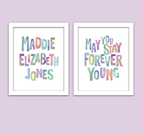 Set of Two - Bob Dylan May You Stay Forever Young & Personalized Name/ Watercolor/ Forever Young Girl Nursery/ Retro Wall Art - Set of Two