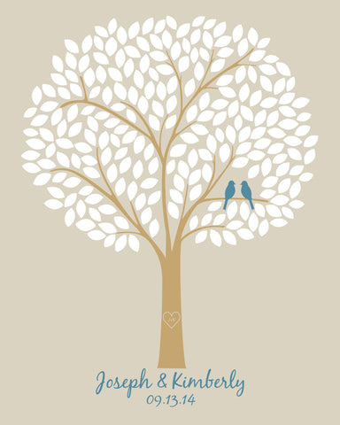 Alternative Wedding Guestbooks/ Bridal Shower Gift/Guest Book Wedding Tree/Personalized Wedding Poster - 20x24 - 220 Signatures