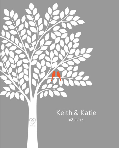 Wedding Guest Book Alternatives / Bridal Shower Gift/ Guest Book Tree/ Personalized Wedding Poster - 20x24 - 165 Signatures