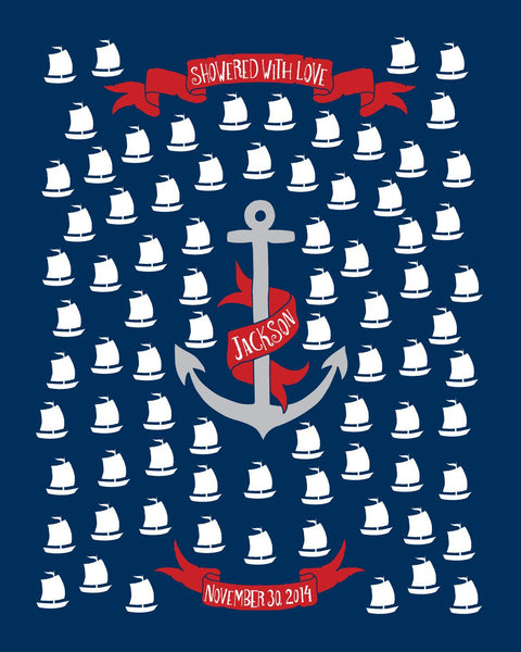 Nautical Baby Shower Guest Book Poster/Red & Navy Baby Shower Gift/Sailor Guest Book/Boat and Anchor/Personalized Baby Shower -16x20 -80 Sig
