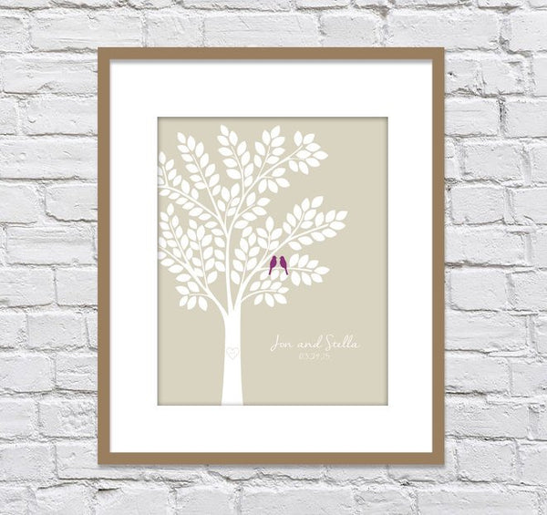 Wedding Tree Guestbook Alternatives / Bridal Shower Gift/ Guest Book Tree/ Personalized Wedding Poster - 20x24 - 140 Signatures