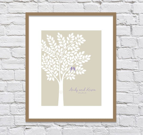 Wedding Guest Book Alternatives/ Bridal Shower Gift/ Guest Book Wedding Tree/ Personalized Wedding Poster - 20x24 - 150 Signatures