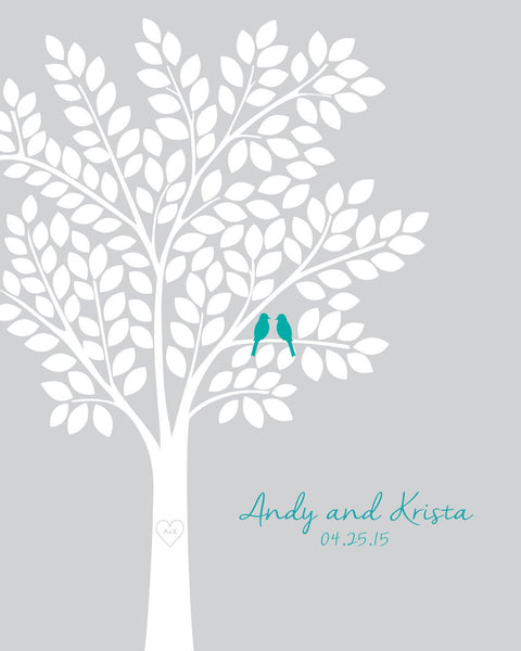 Wedding Guest Book Alternatives / Bridal Shower Gift/ Guest Book Wedding Tree/ Personalized Wedding Poster - 20x24 - 150 Signatures