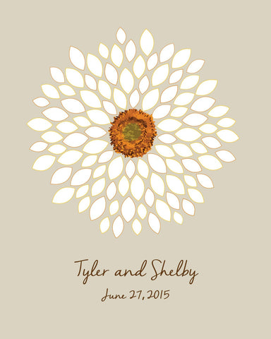Wedding Guest Book Alternatives / Bridal Shower Guest Book/ Flower Guest Book/ Sunflower/Dahlia/ Wedding Poster-20x24-100 Signature