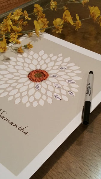 Wedding Guest Book Alternative Bridal Shower Guest Book/Flower GuestBook/ Sunflower/Dahlia/ Personalized Wedding Poster-20x24-- 75 Signature