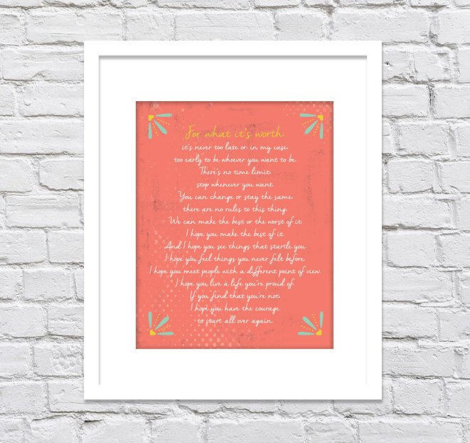 F. Scott Fitzgerald, For What it's Worth Distressed Background/ New Baby Gift/ Graduation Gift/ Anniversary/ Coral Color - 8x10, 11x14,12x16