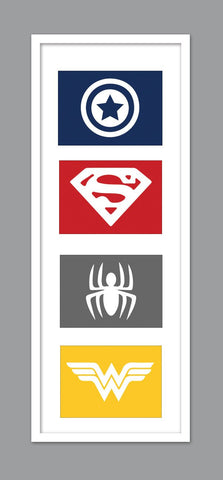 4 Superhero Icon Character Silhouettes for Nursery/Boys Nursery/Captain America/ Superman/ Spiderman/ Wonderwoman -  Set of 4  - 5x7s