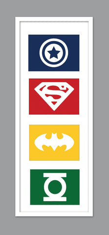 4 Superhero Icon Character Silhouettes for Nursery/Boys Nursery/Captain America/ Superman/ Spiderman/ Green Lantern -  Set of 4  - 5x7s