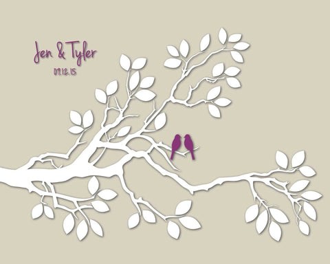 Alternative Small Wedding Guest Book/ Bridal Shower Gift/Guest Book Tree Branch w/ Love Birds/Personalized Wedding Poster- 20x16 - 50 Sigs