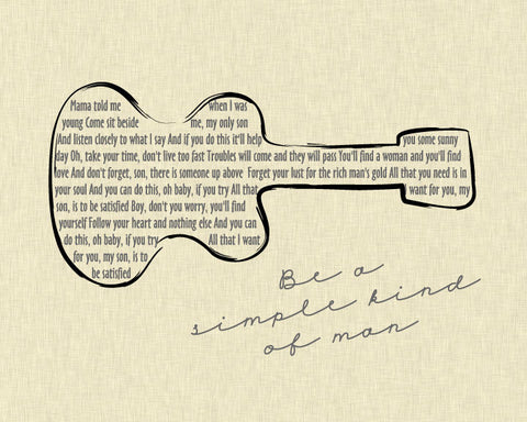 Lynyrd Skynyrd Simple Man Lyrics Sampling/ Guitar/ Ivory Linen background/ Retro Guitar art - 8x10, 11x14, 12x16, 16x20, & 20x24
