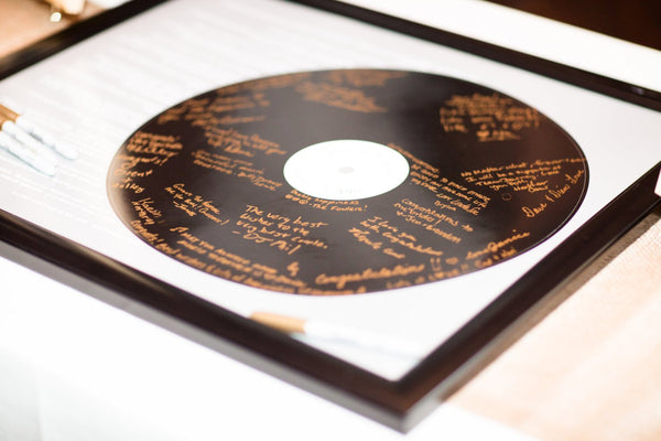 Record Wedding Guest Book Alternatives / Couples Shower Guestbook/ Vinyl Record Graphic Guest Book -20x24