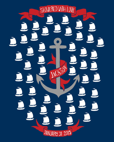 Nautical Baby Shower Guestbook Poster/Red & Navy Baby Shower Gift/Sailor Guest Book/Boat and Anchor/Personalized Baby Shower - 50 Sig