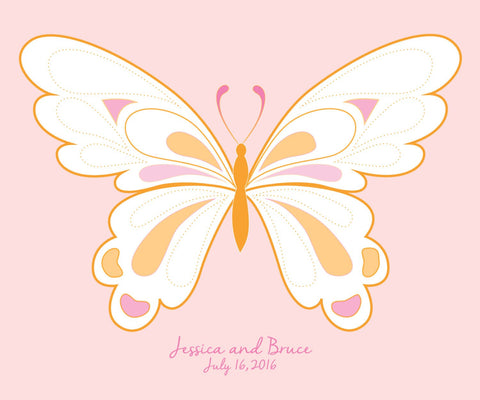 Butterfly Wedding Guest Book Alternative/ Bridal Shower Guestbook/ Butterfly Guest Book/Personalized Wedding Poster-20x24- 80-100 Signatures