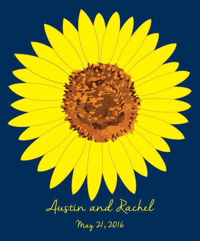 Sunflower Guest Book Alternatives/ Bridal Shower Guest Book/Flower Guest Book/Personalized Wedding Poster-20x24-Approx. 80 Signatures