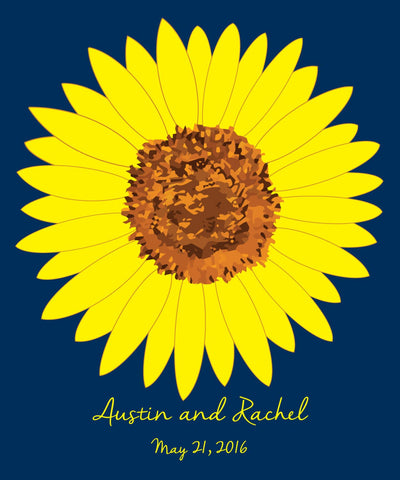 Sunflower Wedding Guest Book Alternatives/ Bridal Shower Guest Book/Flower Guest Book/Personalized Wedding Poster-20x24-Approx. 80 Sigs