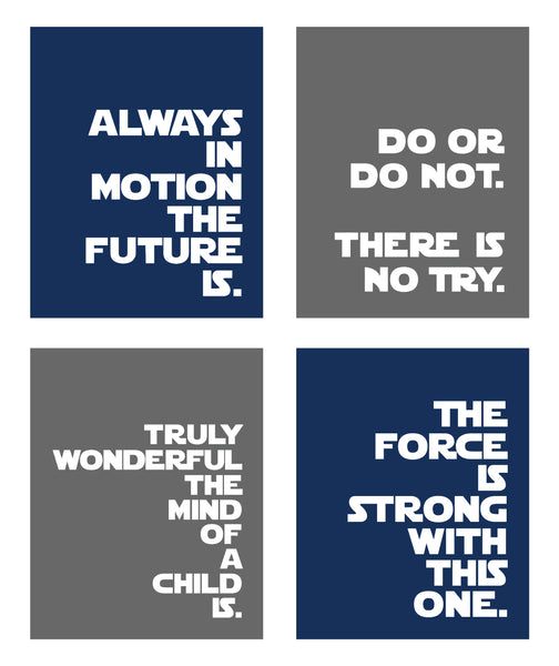 Mix 'n Match - Any 4 Star Wars Silhouette Prints or Quotes for Nursery/Boys Nursery/Do or Do Not There is No Try -  Set of 4  - 8x10 and up