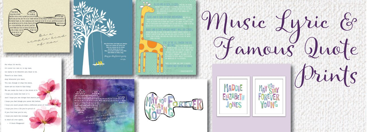 Music Lyrics and Quote Prints