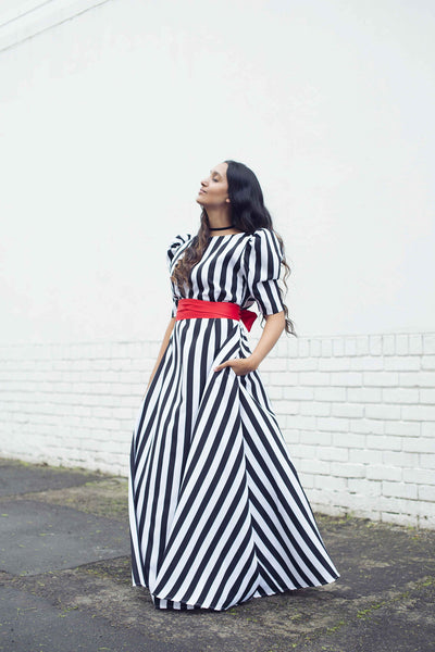 Lulu Dress Black and White stripe