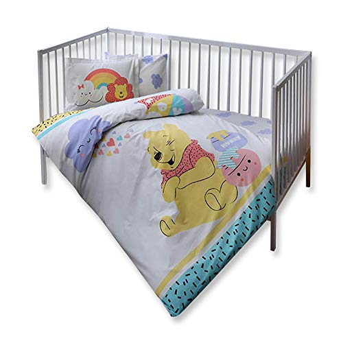 TAC Winnie The Pooh Hunny Baby Bedding Set, Baby Crib Bed Duvet Cover Set - 4 Pieces