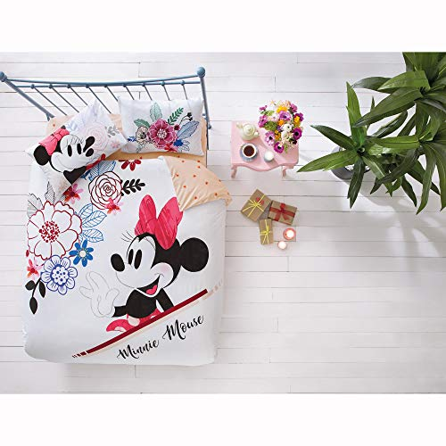 TAC Disney Minnie Mouse Watercolour %100 Cotton Bedding Set - Queen Size