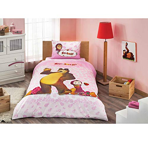 Masha and The Bear Blueberry Licensed Quilt/Duvet Cover Set for Kids - 3 pcs
