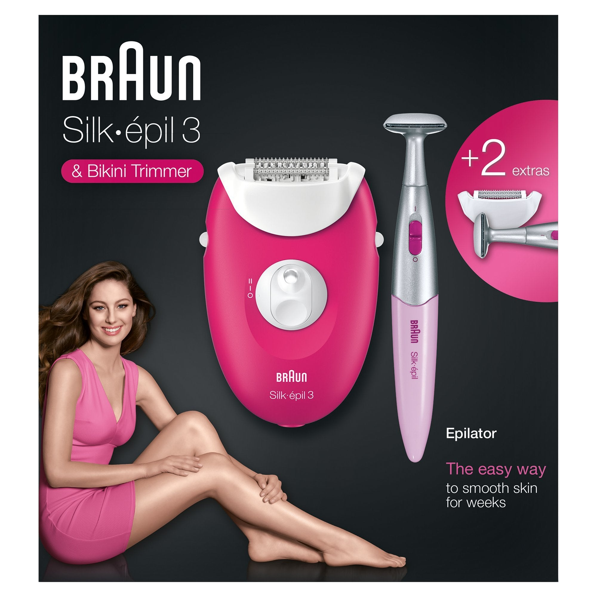 Braun Silk Epil 3 3420 Raspberry Edition Corded Epilator and FG1100 Bikini Trimmer - Braun - Pazarska