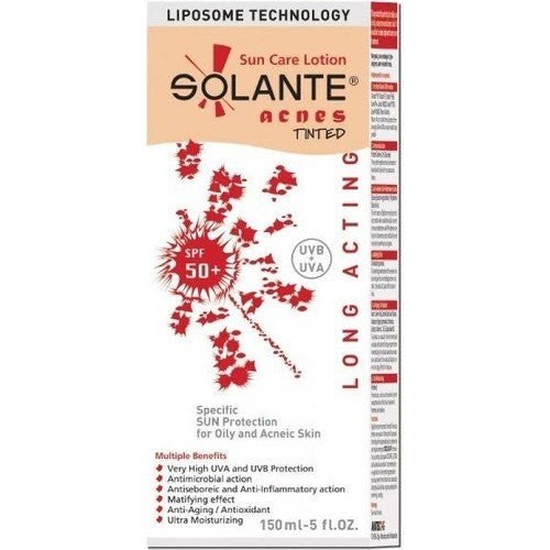 Solante Acnes Tinted Sun Care Lotion Spf 50+ 150 ml Sun Cream for Oily and Acneic Skin - Solante - Pazarska