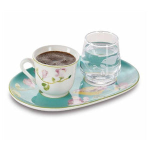 Pasabahce Asiyan Bonechina Turkish Coffee Cup and Glass - Pasabahce - Pazarska