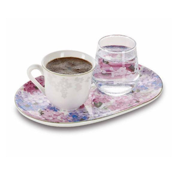 Pasabahce Bloom Bonechina Turkish Coffee Cup and Glass - Pasabahce - Pazarska