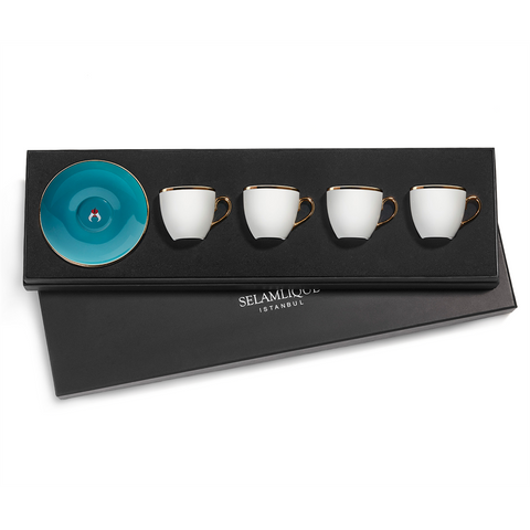 Selamlique Classic Turquoise Turkish Coffee Cups Set of 4 - Selamlique - Pazarska