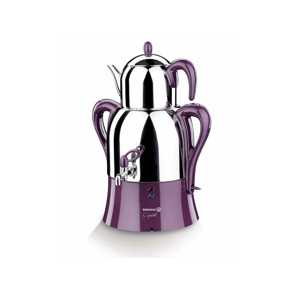 Korkmaz A341 Caykolik Samovar Electric Tea Maker- Inox & Purple - Korkmaz - Pazarska