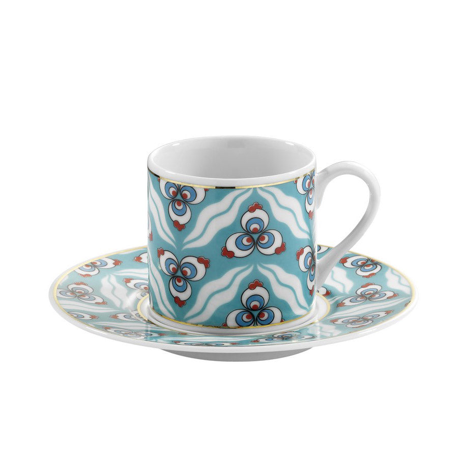 Kutahya Porcelain Cintemani 9734 Pattern Turkish Coffee Cup Set - Kutahya Porcelain - Pazarska