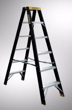 Gorilla Double sided A-frame ladder 1.8m (6ft) 120kg Industrial Fibreglass