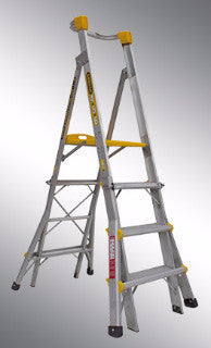Gorilla Platform ladder Aluminium - Adjustable 1.2-1.5-1.8m (4-5-6ft) 150kg Industrial