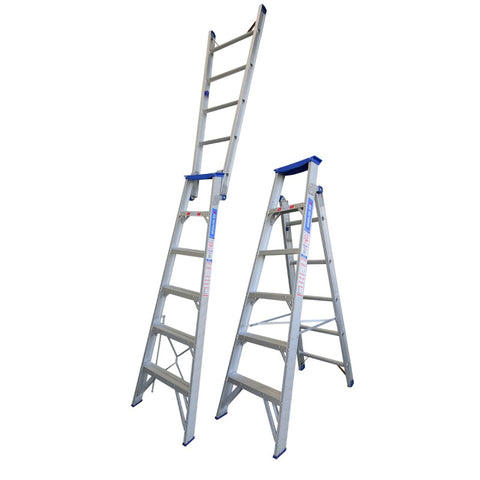 "Indalex Pro Series Aluminium Dual Purpose ""Up n Up"" Ladder 1.8m-3.2m"