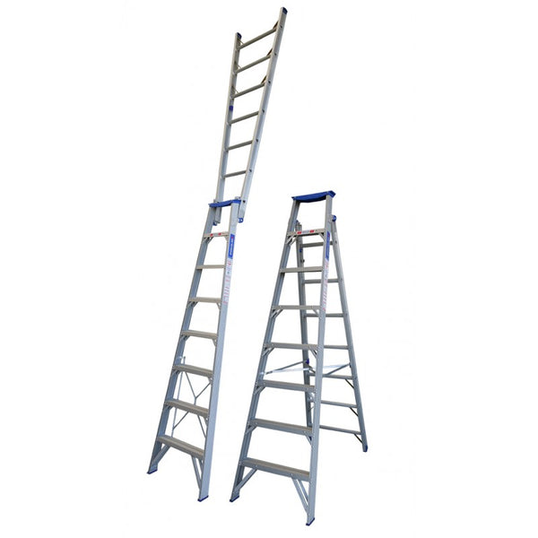 "Indalex Pro Series Aluminium Dual Purpose ""Up n Up"" Ladder 2.4m - 4.4m"