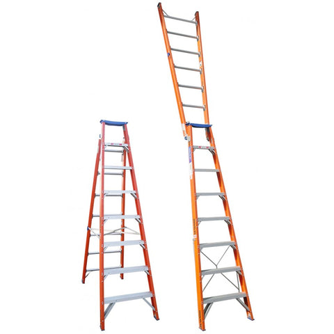 Indalex Pro-Series Fiberglass Dual Purpose Ladder 2.4m - 4.4m