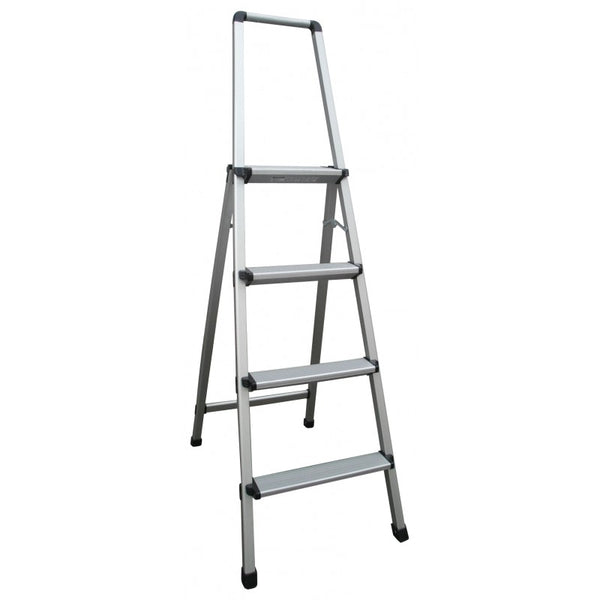 Indalex Aluminium 4 Step Domestic Ladder With Handrails 1.1m
