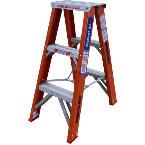 Indalex Tradesman Fibreglass Double Sided Step Ladder 0.9m 3ft