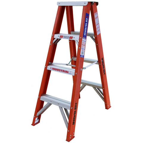 Indalex Tradesman Fibreglass Double Sided Step Ladder 1.2m 4ft