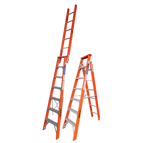 Indalex Tradesman Fibreglass Dual Purpose Step Ladder 2.1m - 3.8m 7ft