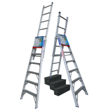 Indalex Pro-Series Aluminium 5 Way Combination Ladder 2.4m-4.1m - Access World