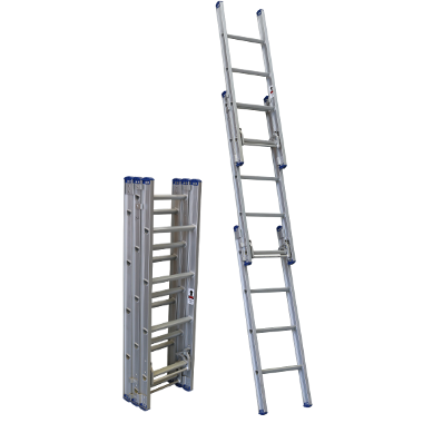 Indalex Pro-Series Aluminium Triple Extension Ladder 1.7-4.5m - Access World - 1