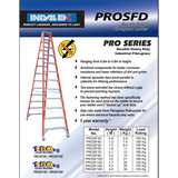 Indalex Pro-Series Fibreglass Double Sided Ladder 2.4m/8f - Access World - 2