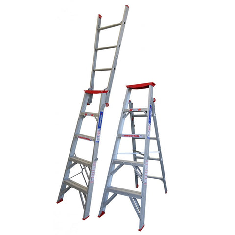 Indalex Tradesman Aluminium Dual Purpose Ladder 5ft 1.5m - 2.6m