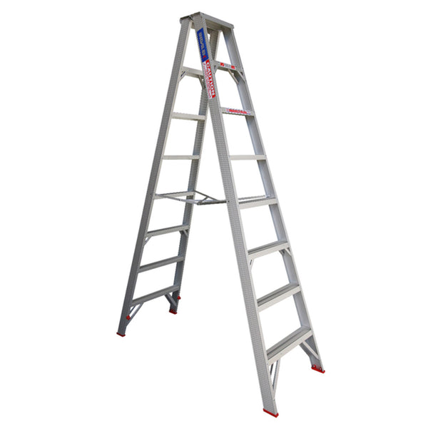 Indalex Tradesman Aluminium Double Sided Step Ladder 2.4m 8ft