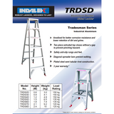 Indalex Tradesman Aluminium Double Sided Step Ladder 1.2m/4f - Access World - 2