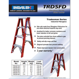 Indalex Tradesman Fibreglass Double Sided Step Ladder 2.4m/8f - Access World - 2