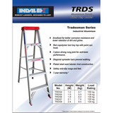 Indalex Tradesman Aluminium Single Sided Step Ladder 1.2m/4ft - Access World - 2